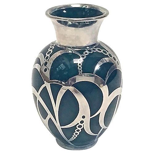 Art Deco Haviland Silver Overlay Vase