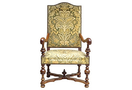 Louis XIV-Style Upholstered Armchair