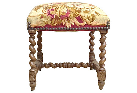 Jacobean Aubusson Tapestry Footstool