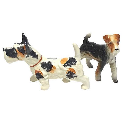 Ceramic Terrier Dog Figurines, Pair
