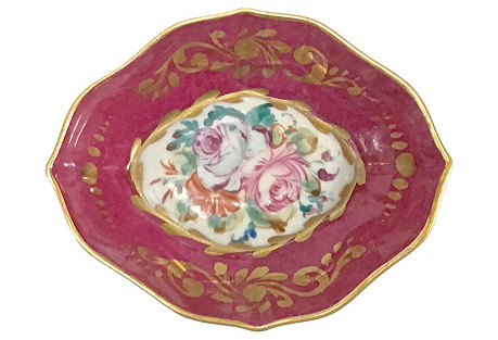 Antique Porcelain Limoges Floral Dish