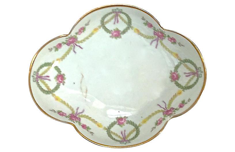Antique Floral Porcelain Limoges Dish