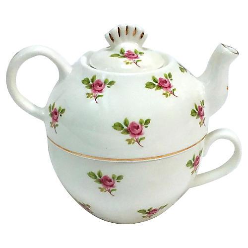 Porcelain Portable Cup & Teapot Combo