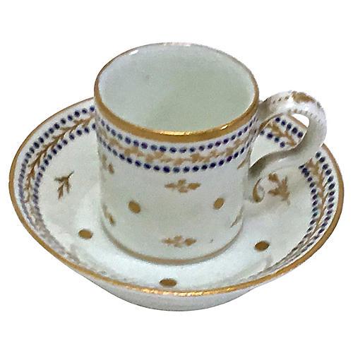 Antique Porcelain Miniature Cup & Saucer