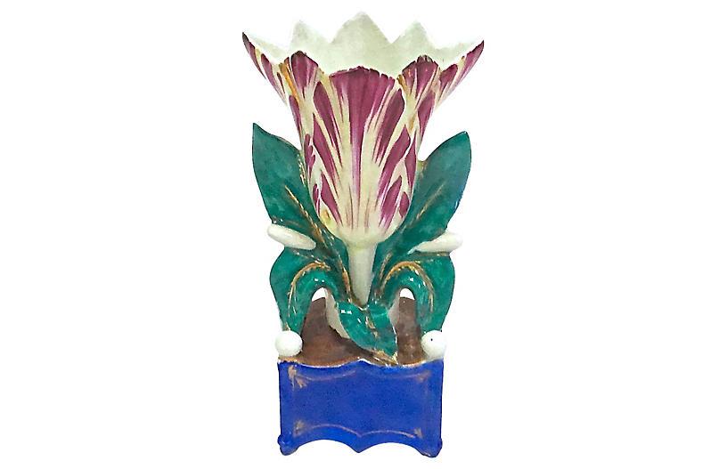 Antique Paris Porcelain Tulip Vase Vermilion Top Vintage Dealers