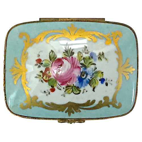 Antique Limoges Porcelain Floral Box