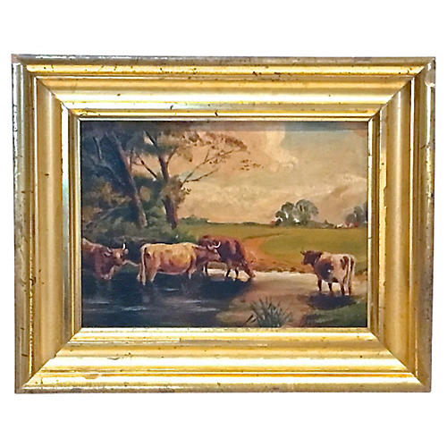 Antique Cows, Pond & Pasture Painting