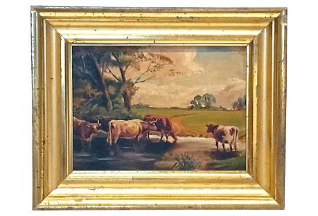 Antique Cows, Pond & Pasture Painting