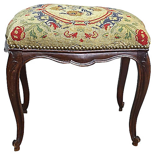 French Floral Petit Point Footstool