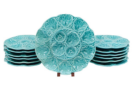 French Gien Faience Oyster Plates, S/13