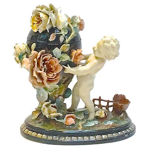 Barbotine Majolica Cherub & Floral Jar