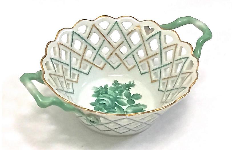 Herend Pierced Porcelain Floral Dish