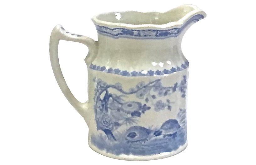 Antique Quail Transferware Pitcher