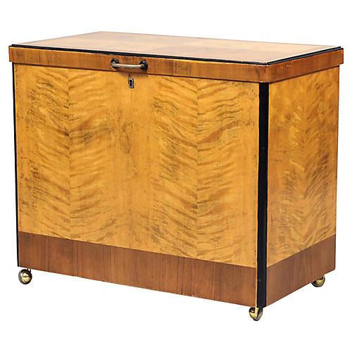 Art Deco Maple & Birch Bar Cabinet