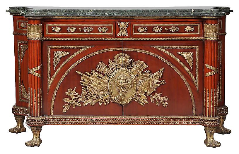 Louis XVI Style Marble/Mahogany Commode