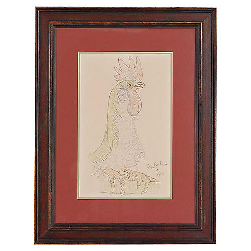 Rooster Lithograph