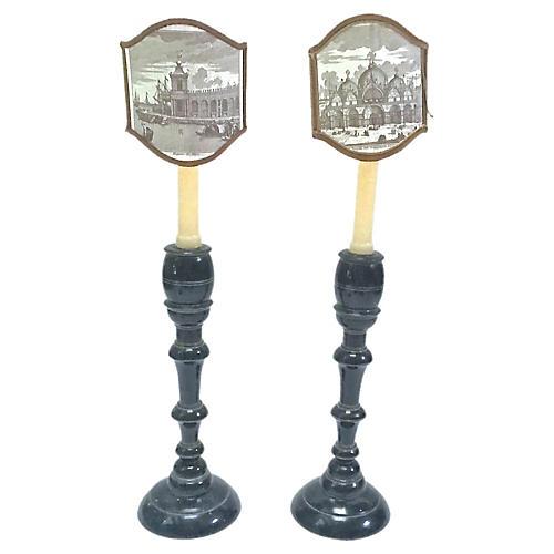 Venice Scenes Ebonized Candleholders, Pr