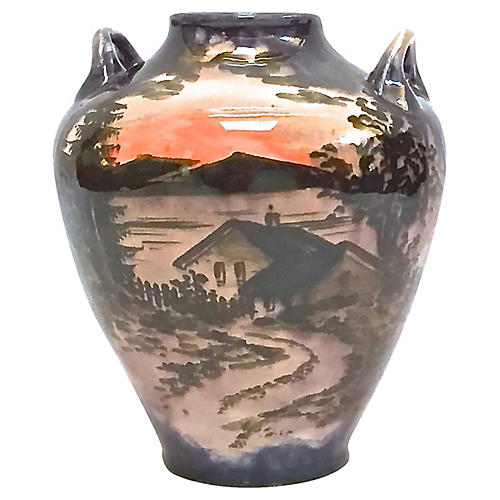 Sunset/Cottage Scene FaienceVase