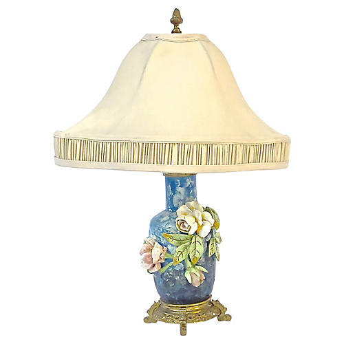 French Barbotine Majolica Floral Lamp