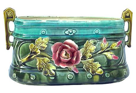 Antique Art Nouveau Floral Cachepot