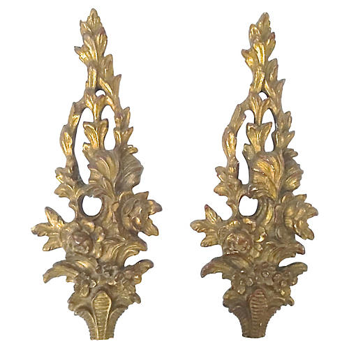 Floral Wall Plaques, Pair