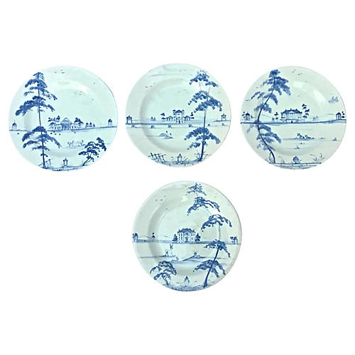 Blue & White Country House Plates, S/4