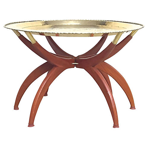 Brass & Wood Spider Table