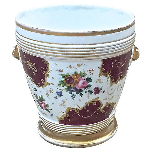 Antique Porcelain Floral Cachepot