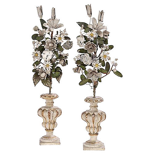 Giltwood Urn & Tole Floral Pieces, Pair