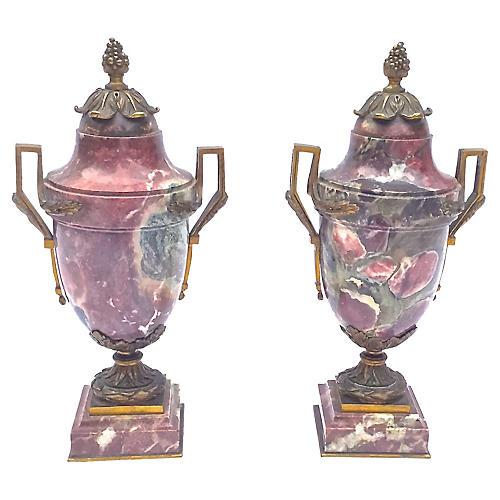 Antique Marble & Brass Urns, Pair
