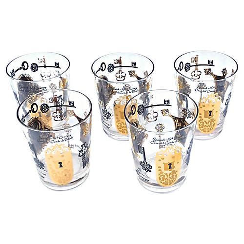 Briard Lock & Key Gilt Tumblers, S/7