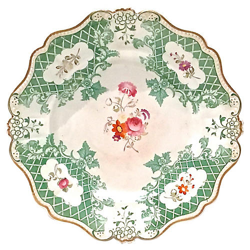 Antique Scalloped Floral Plate