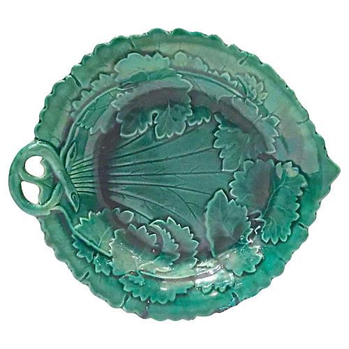 Antique Majolica Leaf & Vine Plate