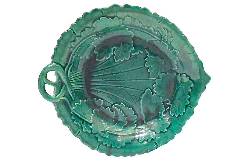 Antique Majolica Leaf & Vine Plate