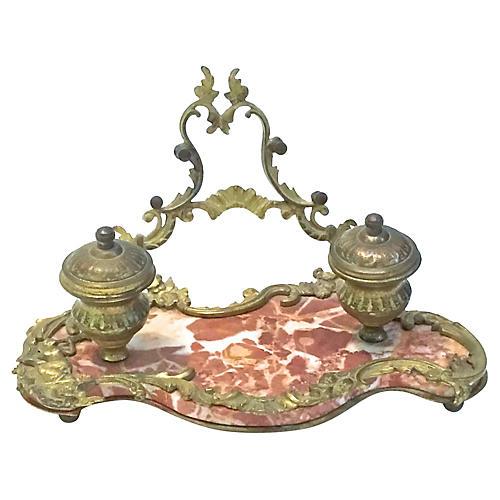 Antique Bronze & Marble Encrier