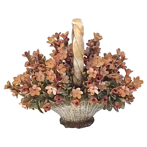 Antique Porcelain Floral Basket