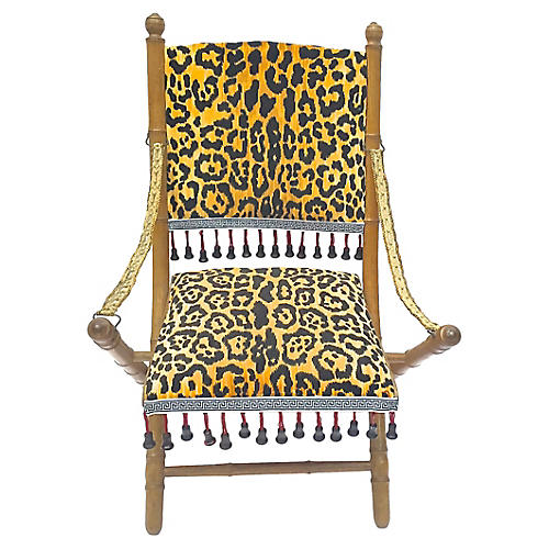 Leopard Folding Campaign Chair