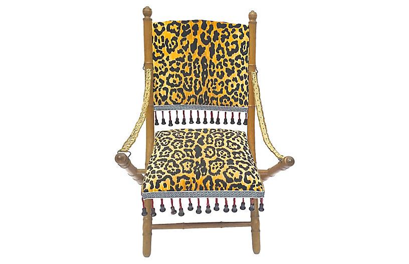 Leopard Folding Campaign Chair