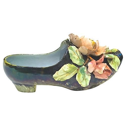 Majolica Shoe Vase