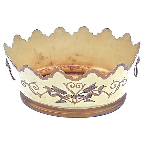 Tole Scalloped Cachepot