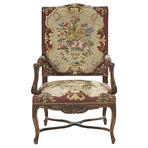 Antique Regency-Style Fruitwood Fauteuil