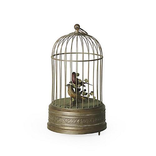 Antique Brass Bird & Cage Automaton