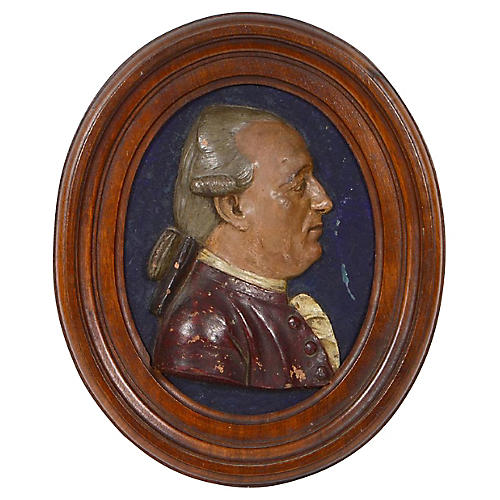 18th-C. Oval Terracotta Portrait Plaque