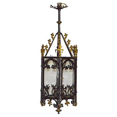 Gothic-Style Iron Hanging Lantern