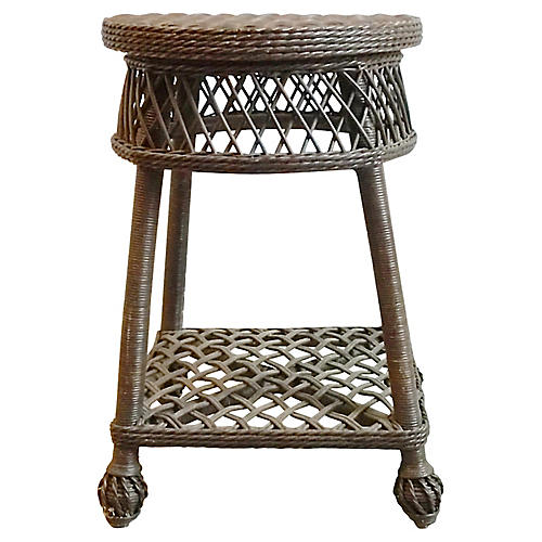 Round Nantucket-Style Wicker End Table
