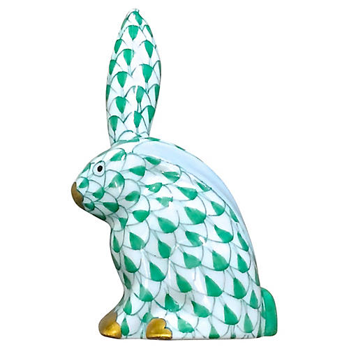 Porcelain Green Herend Rabbit Figurine