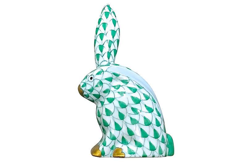 Porcelain Green Herend Rabbit Figurine