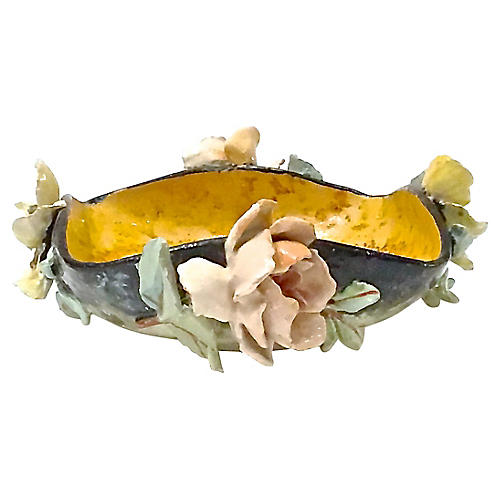 French Barbotine Majolica Floral Bowl
