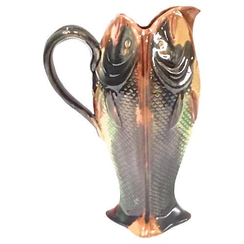 Antique English Majolica Fish Pitcher