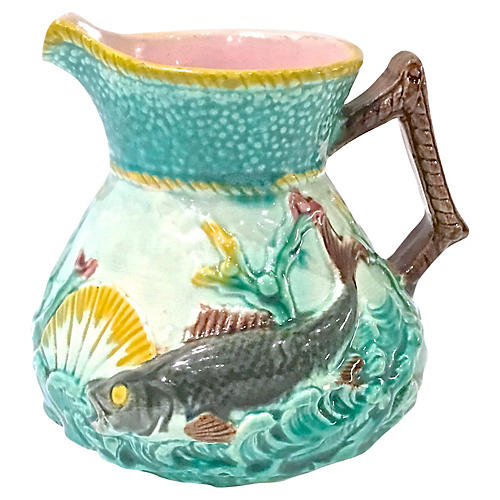 Antique Sea Life Majolica Pitcher
